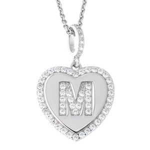 Letter M Initial Heart CZ Pendant Sterling Silver
